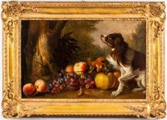 17th century portrait of a Spaniel dog with fruit in a wooded landscape.
