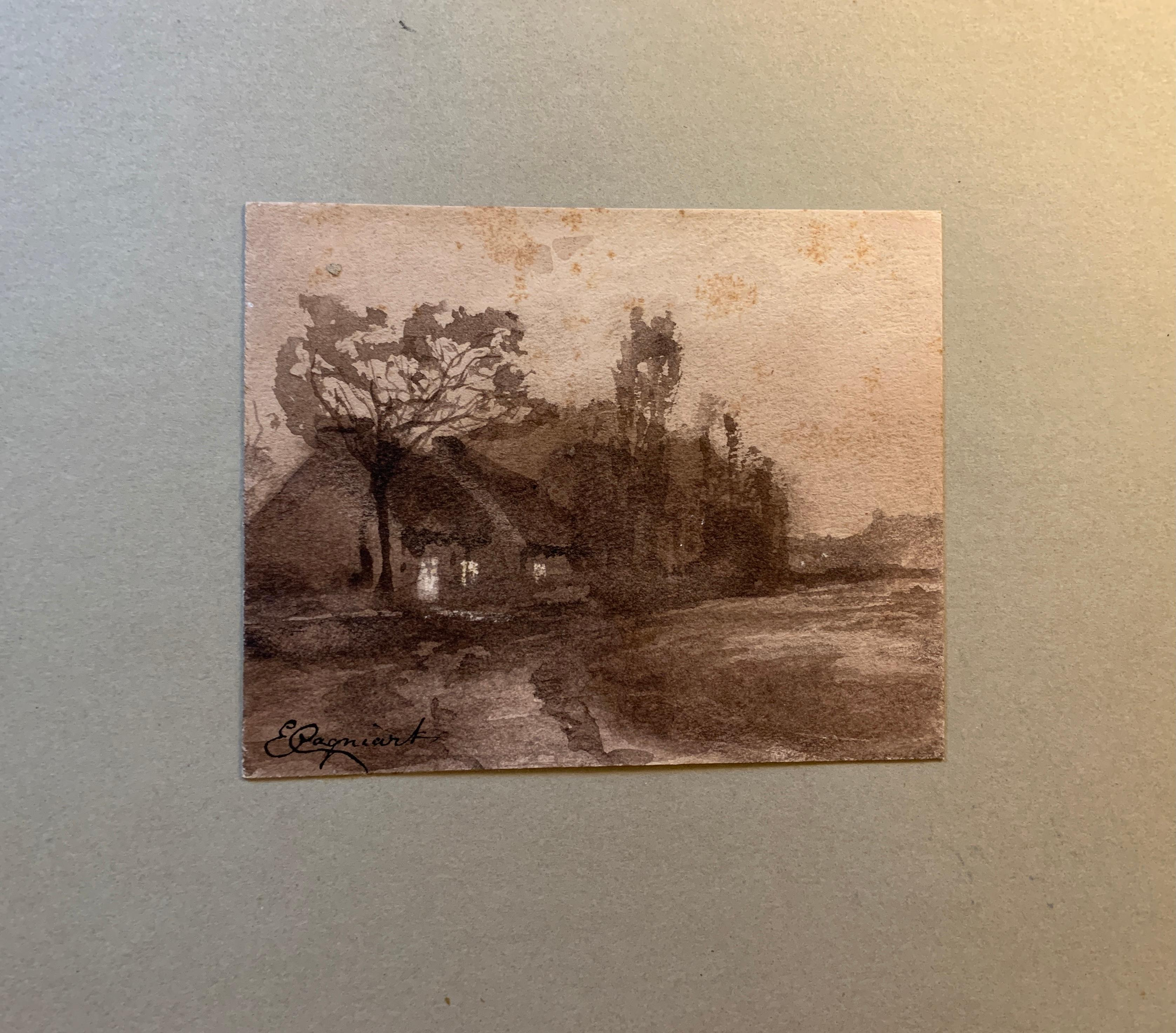 French 19th century Pen and Ink landscapes from a sketch folder
