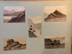 5 French 19th century Pen and Ink landscapes from a sketch folder