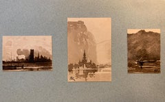 3 French 19th century Pen and Ink landscapes from a sketch folder