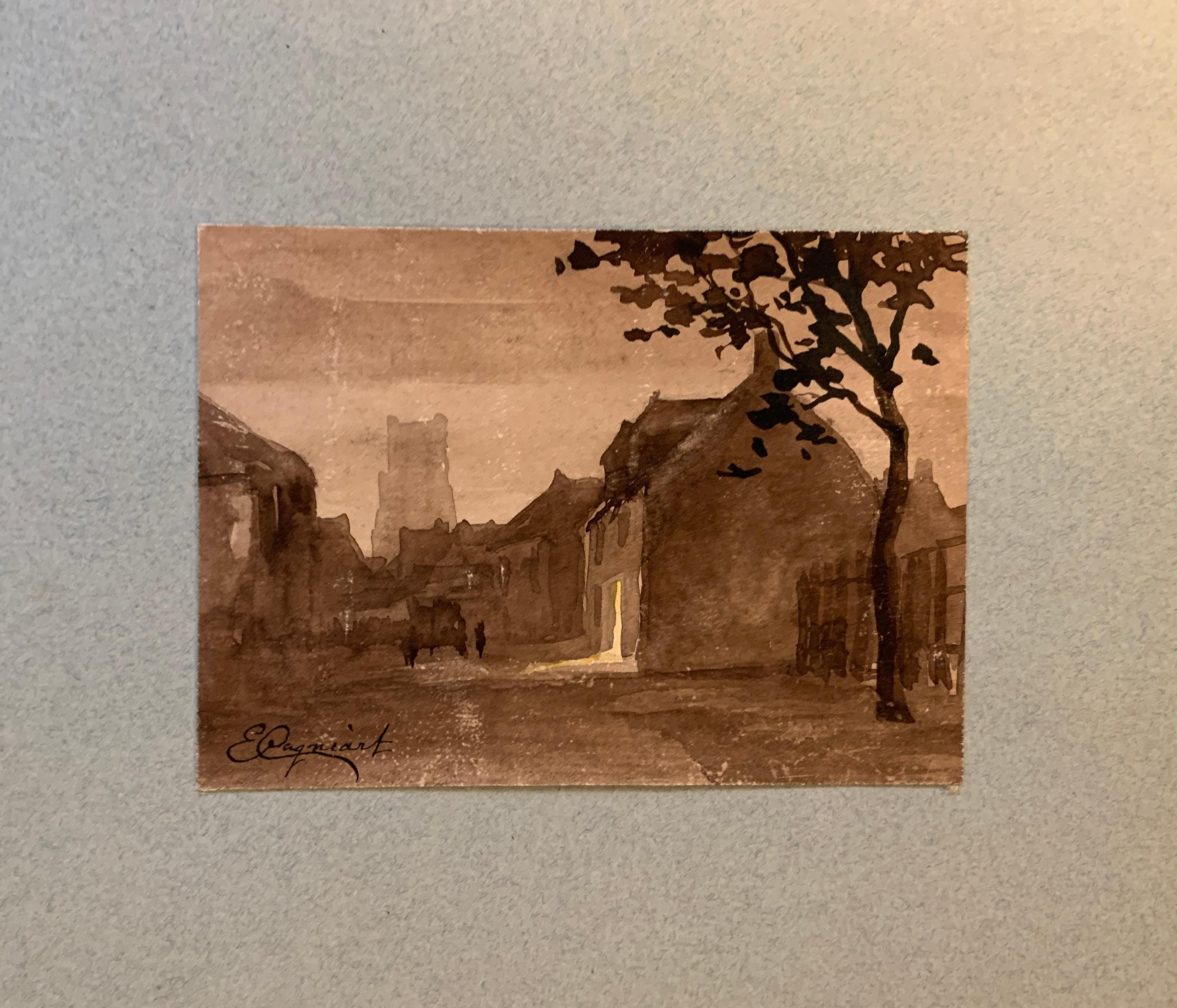 French 19th century Pen and Ink landscape, town and  church from a sketch folder