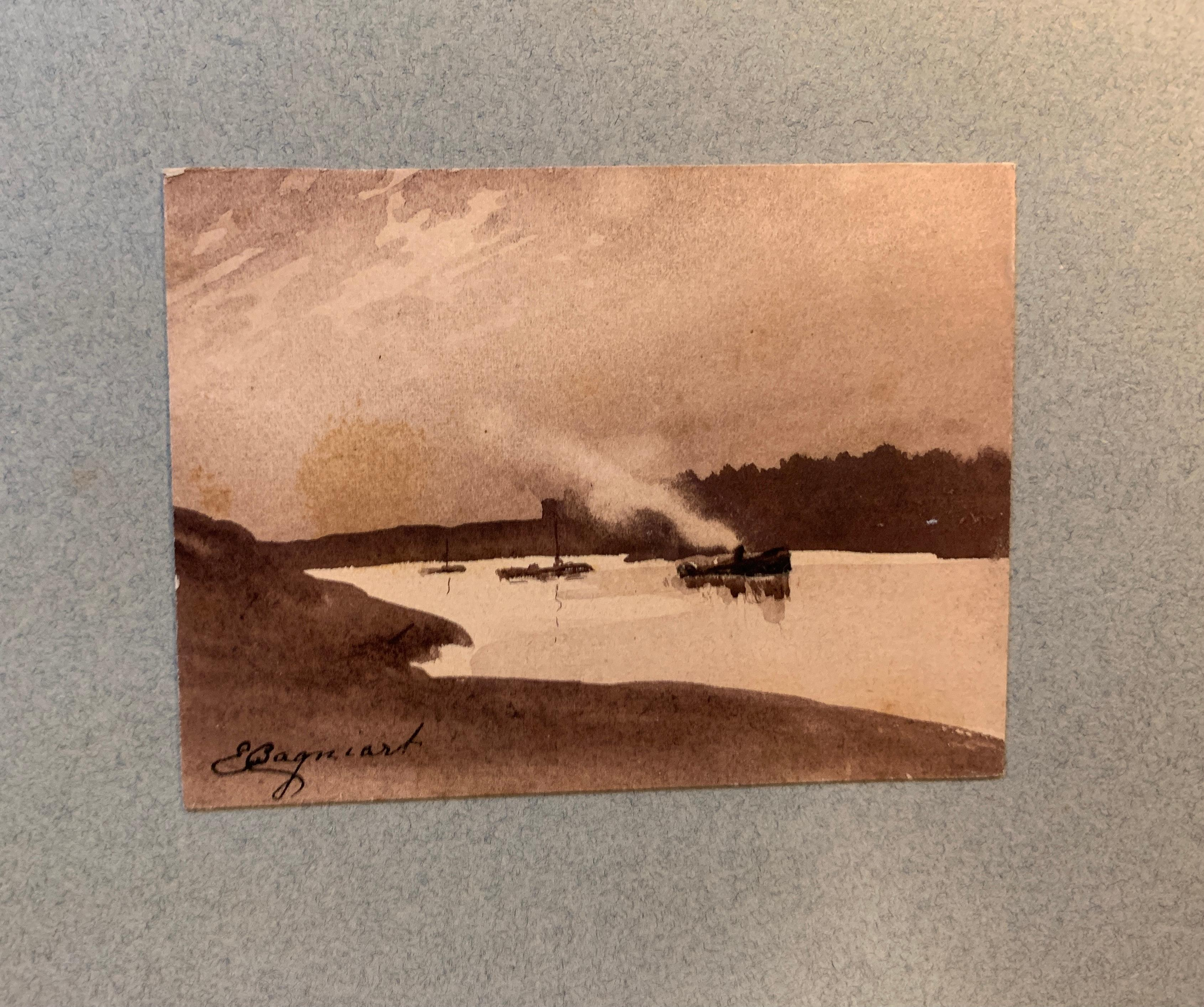 French 19th century Pen and Ink River landscape with boat from a sketch folder