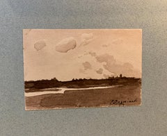 French 19th century Pen and Ink, River landscape from a sketch folder