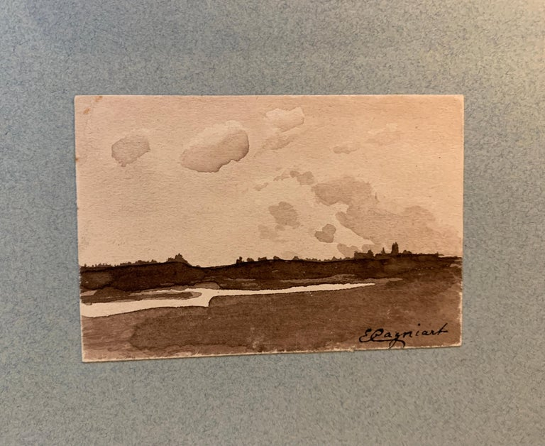 Emile Cagniart Figurative Art - French 19th century Pen and Ink, River landscape from a sketch folder