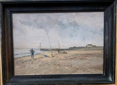 Impressionist English Landscape, with men sea fishing on the Norfolk Coast