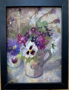 Impressionist English 20th century ,oil study of purple, white and pink flowers