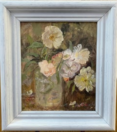 Impressionist English 20th century still life of White and yellow flowers