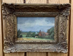 Pair of Impressionist English 20th century cottage landscapes in Norfolk, UK