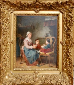 19th century interior of a mother with her children playing together