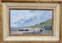 English Impressionist 20th century beach scene with tractor, fishing boats.