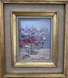 Impressionist English 20th century still life of flowers, Euonymus, snowberries