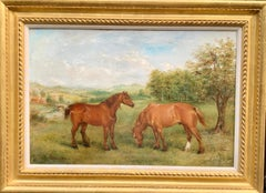 Early 20th century portrait of  shire or Clydesdale horses in a landscape.