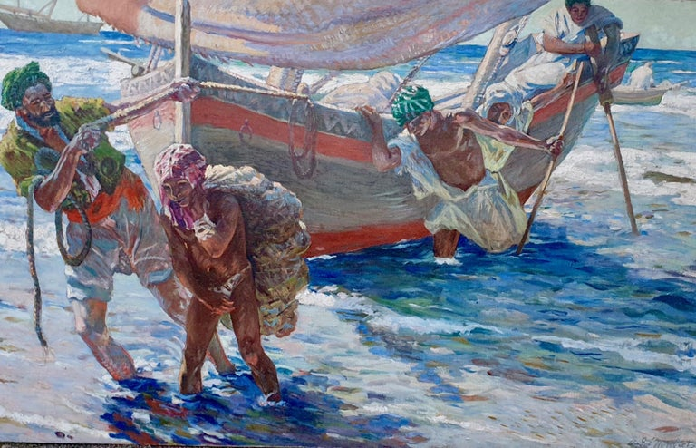 French North African early 20th century Impressionist, Fishermen coming ashore - Painting by Andre Louis Maxim Humbert