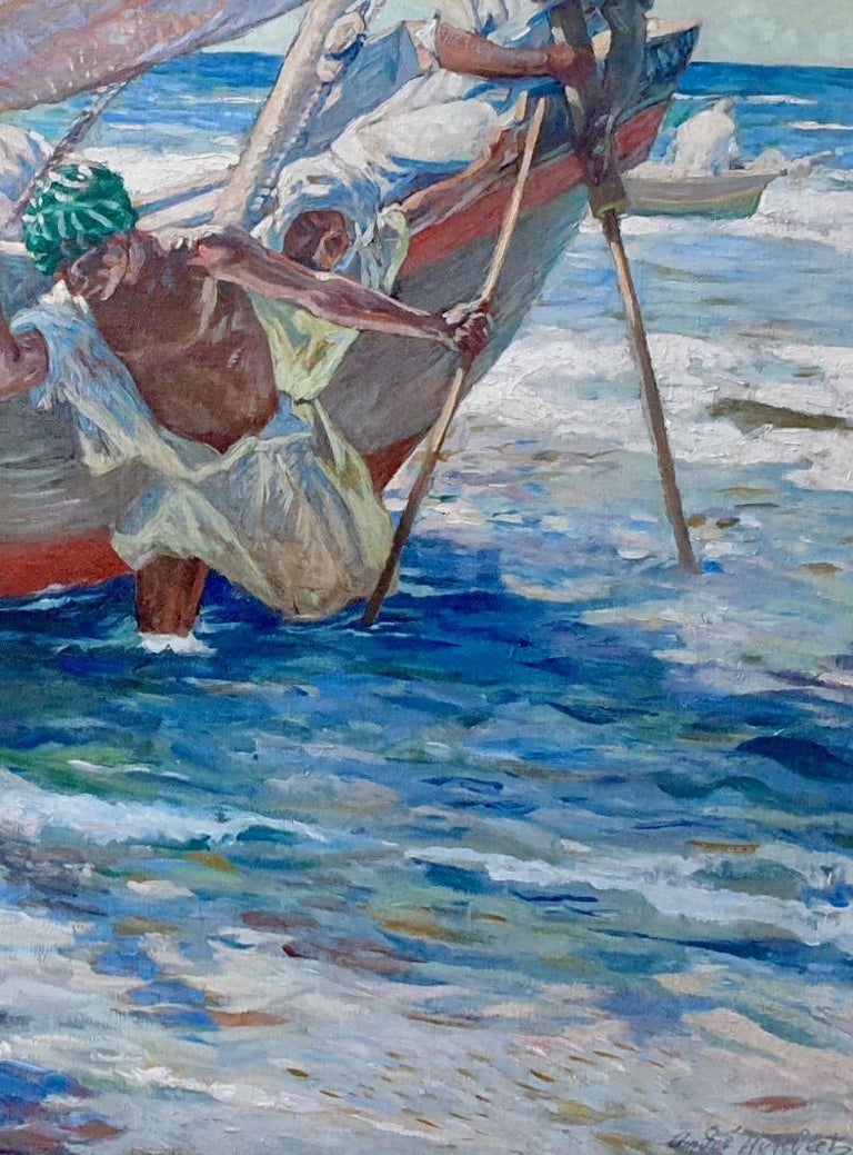 French North African early 20th century Impressionist, Fishermen coming ashore - Gray Figurative Painting by Andre Louis Maxim Humbert