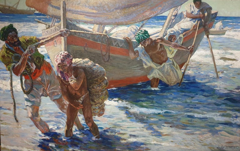 French North African early 20th-century Impressionist, Fishermen coming ashore with their daily catch.  André Humbert was born in Paris on the 27th of November. He was a student of the famous French painter Léon Bonnat and throughout his carrier he