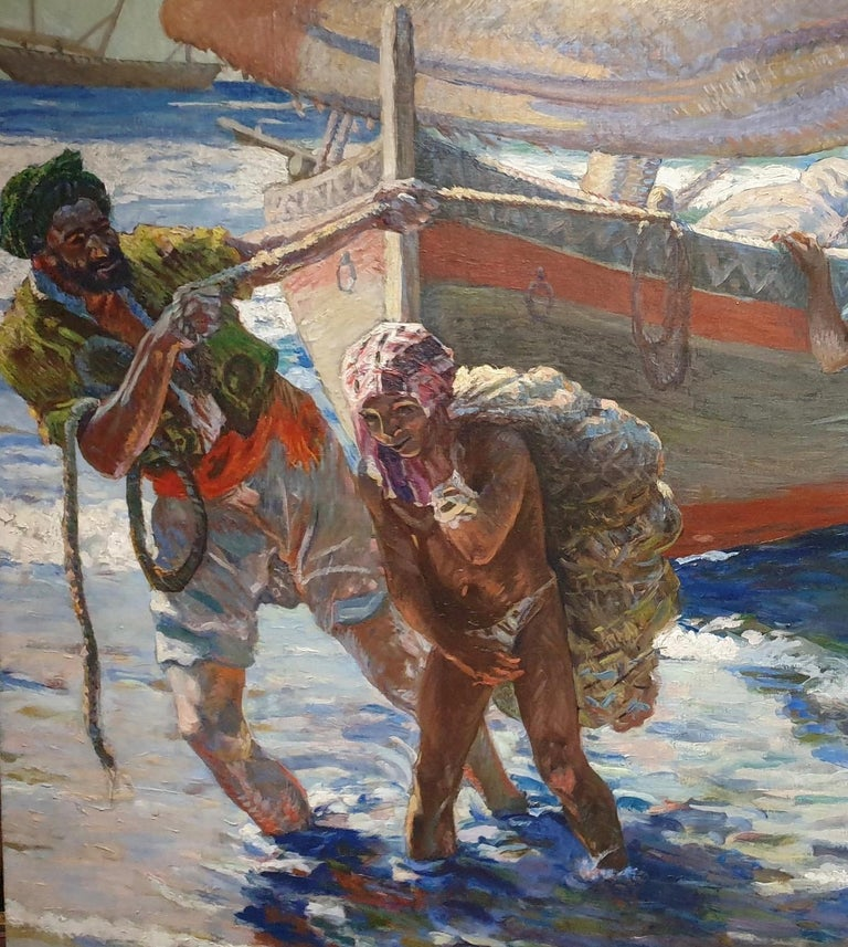 French North African early 20th century Impressionist, Fishermen coming ashore For Sale 1