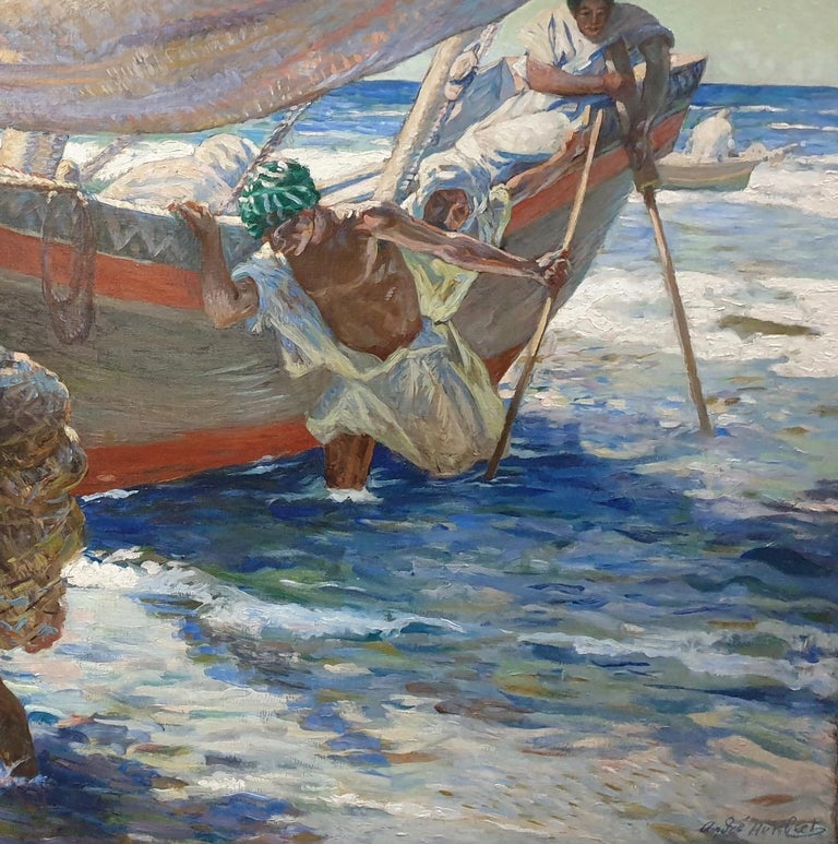 French North African early 20th century Impressionist, Fishermen coming ashore For Sale 2