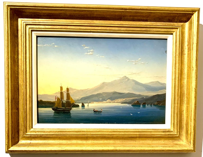 English school 19th century Figurative Painting - 19th century English warship off the Italian, Mediterranean coast, with village