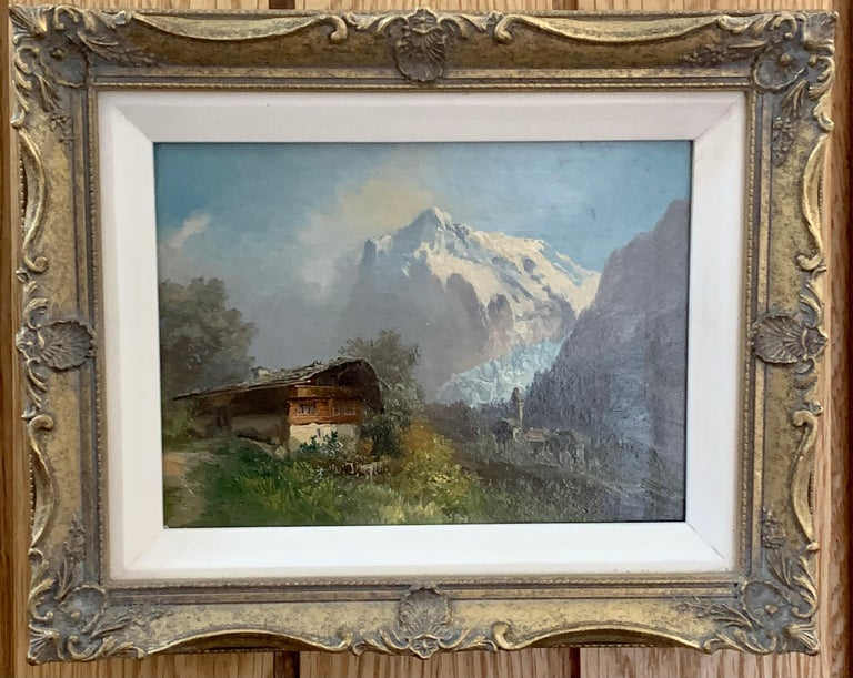 M.Schmidt Figurative Painting - Early 20th century, Swiss Alpine lodge near Grindelwald and the Matterhorn