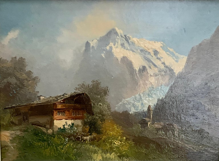 Early 20th century, Swiss Alpine lodge near Grindelwald and the Matterhorn - Painting by M.Schmidt
