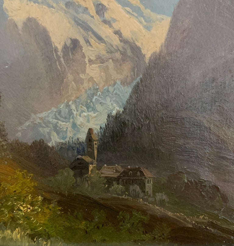 Early 20th century, Swiss Alpine lodge near Grindelwald and the Matterhorn - Victorian Painting by M.Schmidt
