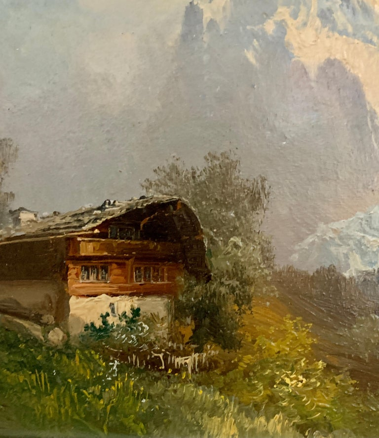 Early 20th century, Swiss Alpine lodge near Grindelwald and the Matterhorn - Gray Figurative Painting by M.Schmidt