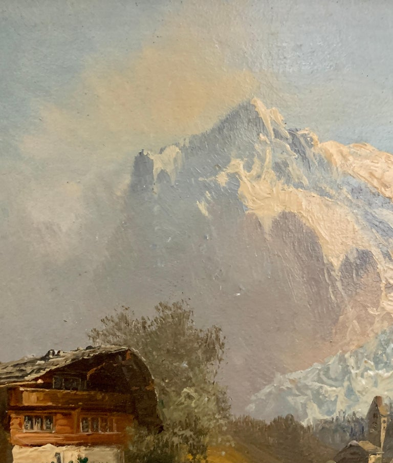 Early 20th-century view of a Swiss Alpine lodge near Grindelwald and the Matterhorn  Dating from the early 20th century this painting would have been painted for one of the many visitors who would have gone to Grindelwald to see the Glacier and the