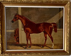 19th century English Antique Portrait of an Chestnut Horse in a stable in oils