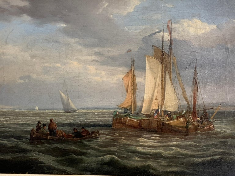 Antique Dutch 19th century ships at sea, fishing boats, men rowing. - Victorian Painting by Dutch 19th century School