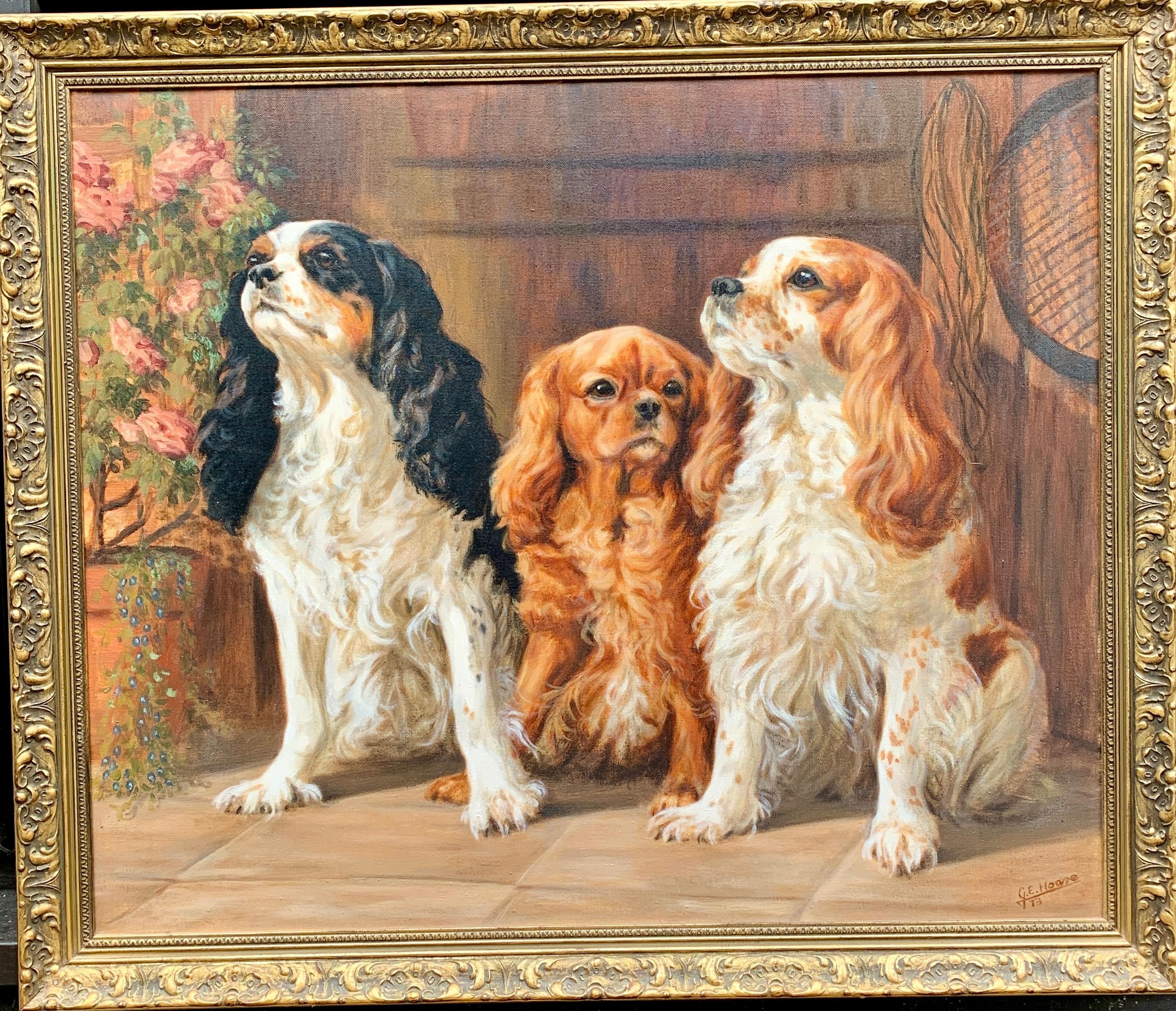 20th century English oil Portrait of three King Charles Cavalier Spaniels.