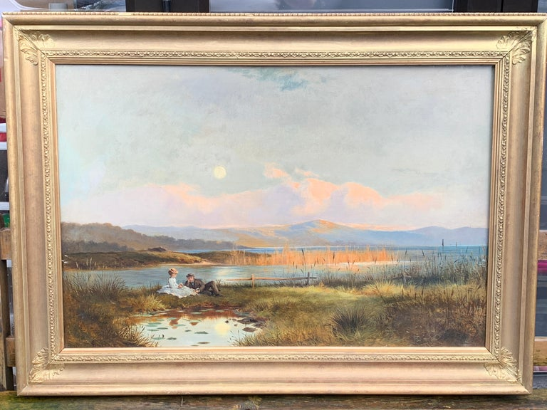 Antique 19th century English Highland landscape lock scene with young couple - Victorian Painting by J.Sinclair