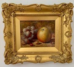 Victorian late 19th century English still life of Grapes, apple, hazelnut etc