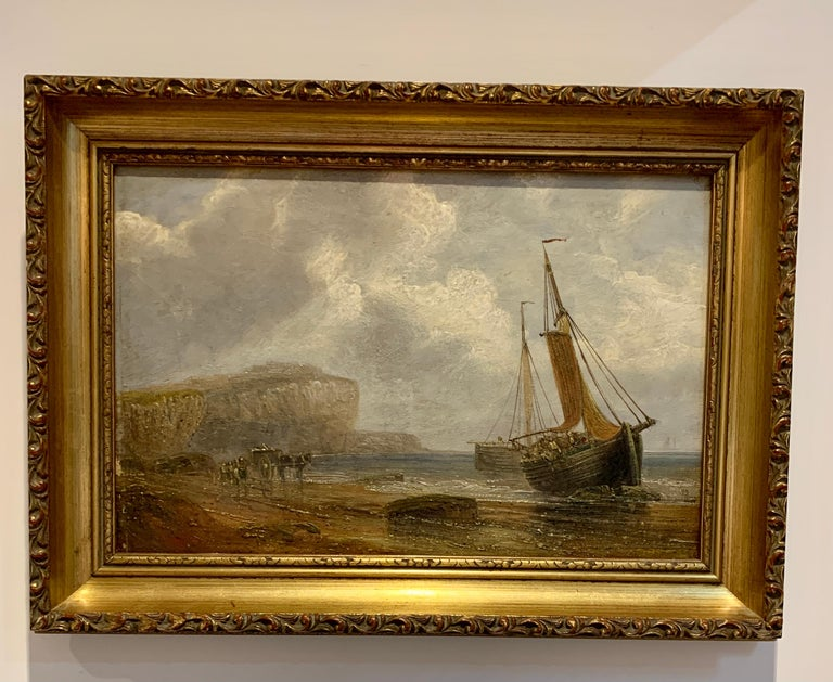 English 19th century Antique beach landscape with fishing boat on the shore - Painting by 19th Century English Antique marine art