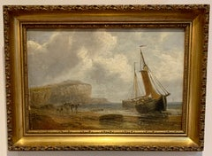 English 19th century Antique beach landscape with fishing boat on the shore