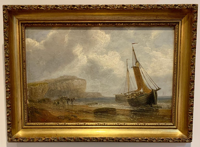 19th Century English Antique marine art Landscape Painting - English 19th century Antique beach landscape with fishing boat on the shore