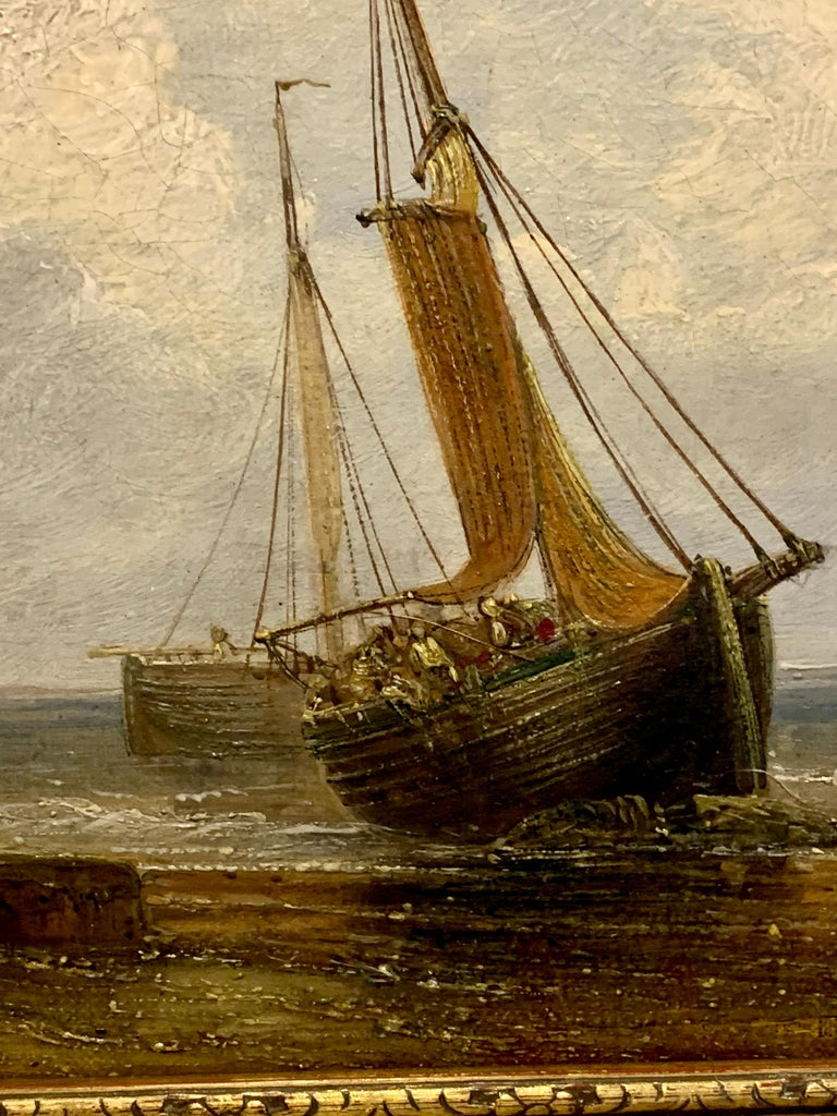 English 19th century Antique beach landscape with fishing boat on the shore - Victorian Painting by 19th Century English Antique marine art