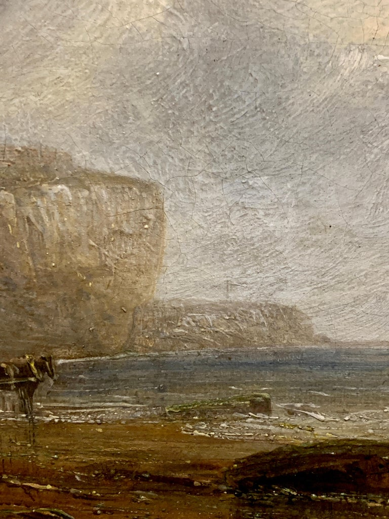 English 19th century Antique beach landscape with fishing boat on the shore - Brown Landscape Painting by 19th Century English Antique marine art