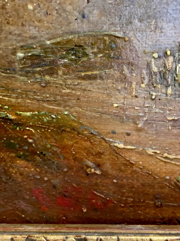 English 19th century Antique beach landscape with fishing boat on the shore For Sale 2