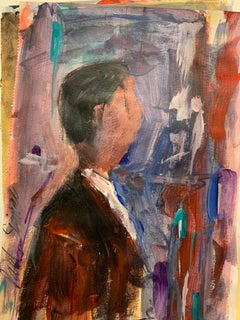 English abstract 20th century oil sketch of a portrait of a man