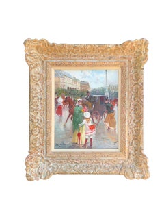 20th century Impressionist French style figures in a Parisian cityscape.