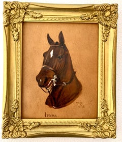 English early 20th century Oil Portrait of a Chestnut Horse