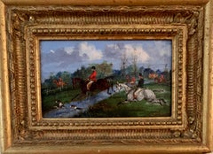 Oil Painting, Antique 19th century Fox hunting with hounds in a landscape horses