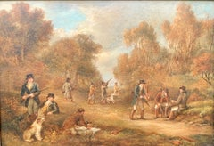 Antique oil paintings, set of Four English Early 19th century shooting scenes