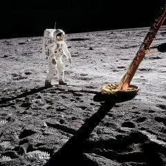 Buzz Aldrin. Apollo 11 'Inspecting the Eagle' Dye Sublimation Print on Aluminum