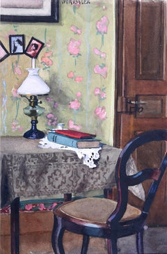 In meiner Bude (In my Shack) - Gouache/Paper, Interior, New Objectivity, 1920's