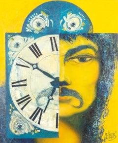 Le Voyeur Mortel - Oil on Panel, Phantastic Realism, Surrealism, Yellow/Blue
