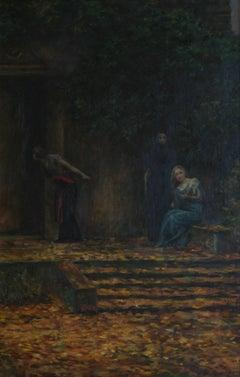 Die geheime Botschaft (The secret message) - Painting, Oil, Canvas, Modern