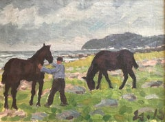 Pferde (Horses) - Painting, Oil, Canvas, Impressionist, early 20th Century