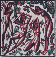 Freude (Joy) - Woodcut Print in Colors, Nudes, Modern, Red/Green, 20th Century