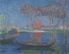 Italienischer Frühling (Italian Spring) - Watercolor, Venice, Landscape, Modern
